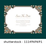 vintage photo frame  save the... | Shutterstock .eps vector #1114969691