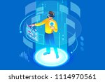 into the future  isometric man... | Shutterstock .eps vector #1114970561