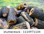 pile of cut natural fire woods... | Shutterstock . vector #1114971134