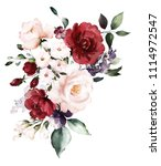 watercolor burgundy flowers.... | Shutterstock . vector #1114972547