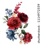 watercolor burgundy flowers.... | Shutterstock . vector #1114972559