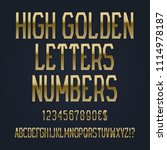 high golden letters  numbers ... | Shutterstock .eps vector #1114978187