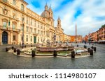 piazza navona square in rome ... | Shutterstock . vector #1114980107