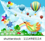 spring landscape with balloons  ...   Shutterstock .eps vector #1114985114