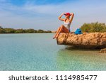tourist woman at the red sea... | Shutterstock . vector #1114985477