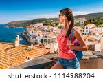 tourist woman in cadaques ... | Shutterstock . vector #1114988204