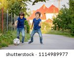 two cute little kids  playing... | Shutterstock . vector #1114989977