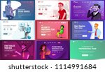 main web page set design vector.... | Shutterstock .eps vector #1114991684