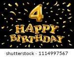 raster copy happy birthday 4... | Shutterstock . vector #1114997567