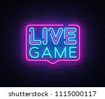 live game neon sign vector.... | Shutterstock .eps vector #1115000117