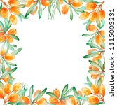 hand drawn watercolor frame of...   Shutterstock . vector #1115003231