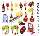 winery isometric set vineyard... | Shutterstock .eps vector #1115003384