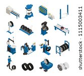 tire production isometric icons ... | Shutterstock .eps vector #1115003411
