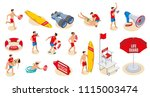 beach lifeguards inventory... | Shutterstock .eps vector #1115003474