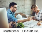young successful architect...   Shutterstock . vector #1115005751