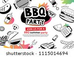 summer bbq party in doodles... | Shutterstock .eps vector #1115014694