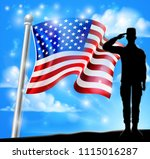 saluting soldier with a... | Shutterstock . vector #1115016287