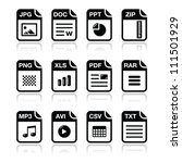file type black icons with...