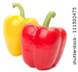 colored paprika peppers isolated on white background - stock photo
