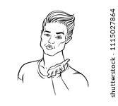 young man sends air kiss... | Shutterstock .eps vector #1115027864