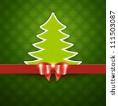 Christmas tree applique and bow vector background