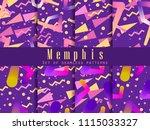 memphis seamless pattern set.... | Shutterstock .eps vector #1115033327