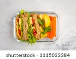 healthy meal prep glass... | Shutterstock . vector #1115033384