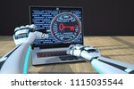 the robot hands with a loupe ... | Shutterstock . vector #1115035544