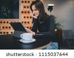 beautiful young smiling woman... | Shutterstock . vector #1115037644