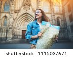 young traveller girl wandering... | Shutterstock . vector #1115037671