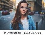 outdoor portrait of beautiful... | Shutterstock . vector #1115037791