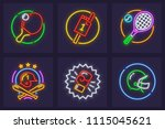 neon icon with racket and ball... | Shutterstock .eps vector #1115045621