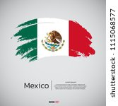 flag of mexico with brush... | Shutterstock .eps vector #1115068577