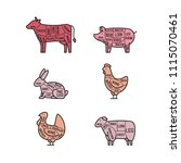 diagrams for butcher shop. meat ... | Shutterstock .eps vector #1115070461