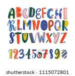 bright colored hand drawn latin ... | Shutterstock .eps vector #1115072801