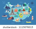map of iceland with touristic...   Shutterstock .eps vector #1115078315