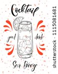 alcoholc cocktail sea breeze.... | Shutterstock .eps vector #1115081681