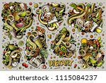 colorful vector hand drawn... | Shutterstock .eps vector #1115084237