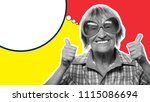 senior woman wearing big... | Shutterstock . vector #1115086694