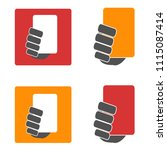 soccer yellow and red card... | Shutterstock .eps vector #1115087414