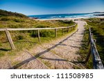 This image shows a beach in New South Wales' South Coast, Australia - stock photo
