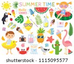 summer set with cute elements... | Shutterstock .eps vector #1115095577