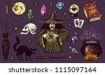 halloween elements. magic ball  ... | Shutterstock .eps vector #1115097164