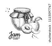 apricot jam glass jar vector... | Shutterstock .eps vector #1115097767