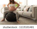 pregnant woman doing relax... | Shutterstock . vector #1115101481