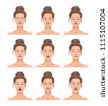 portrait of a girl. a set of... | Shutterstock .eps vector #1115107004