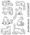 set with doodle cats.... | Shutterstock .eps vector #1115114657