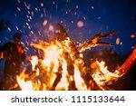 people standing next to beach... | Shutterstock . vector #1115133644