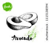 avocado with leaf. cut avocado... | Shutterstock .eps vector #1115138594