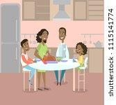 african american family dinner... | Shutterstock . vector #1115141774